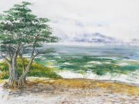 Landscapes - Stormy Morning At Carmel By The Sea California - Watercolor